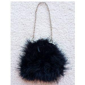 BIJOUX TERNERBlack Satin & Fur Evening Bag Pouch